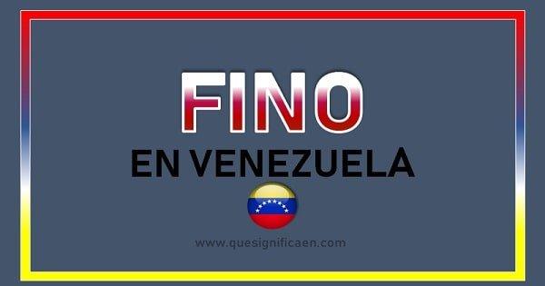 Que significa la palabra fino en Venezuela